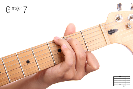 GMaj7 - major seventh keys guitar tutorial series. Closeup of hand playing G major seventh chord on guitar, isolated on white background