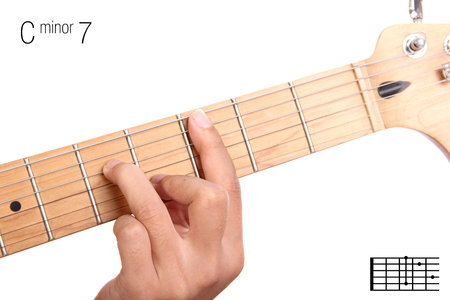 chord: C - minor seventh keys guitar tutorial series. Closeup of hand playing C minor seventh chord on guitar, isolated on white background