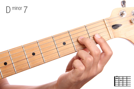 chord: Dm7 - minor seventh keys guitar tutorial series. Closeup of hand playing D minor seventh chord on guitar, isolated on white background