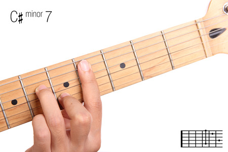 seventh: C#m7 - minor seventh keys guitar tutorial series. Closeup of hand playing C sharp minor seventh chord on guitar, isolated on white background