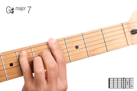 G#Maj7 - major seventh keys guitar tutorial series. Closeup of hand playing G sharp major seventh chord on guitar, isolated on white background Stock Photo