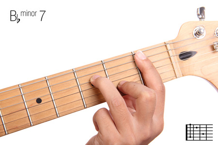seventh: Bbm7 - minor seventh keys guitar tutorial series. Closeup of hand playing B flat minor seventh chord on guitar, isolated on white background