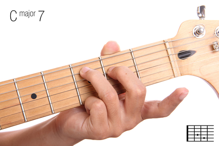 chord: C - major seventh keys guitar tutorial series. Closeup of hand playing C major seventh chord on guitar, isolated on white background