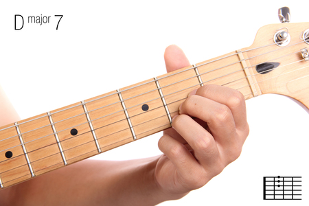 seventh: DMaj7 - major seventh keys guitar tutorial series. Closeup of hand playing D major seventh chord on guitar, isolated on white background