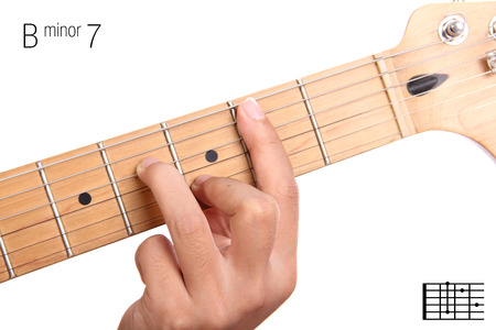 seventh: Bm7 - minor seventh keys guitar tutorial series. Closeup of hand playing B minor seventh chord on guitar, isolated on white background Stock Photo