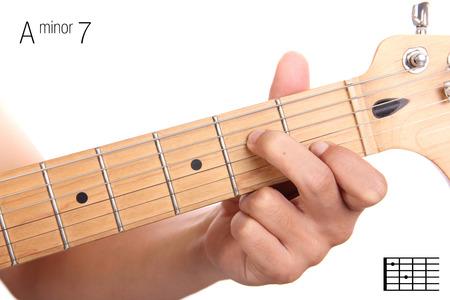 Am7 - Minor Seventh Keys Guitar Tutorial Series. Closeup Of Hand ...