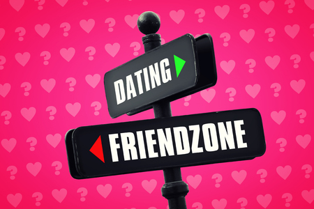 crossroad: A crossroad sign between Dating and Friendzone. Conceptual design about nowadays people relationship complexity