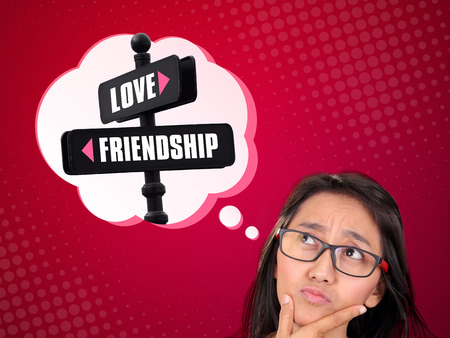 Conceptual image of a thoughtful young woman in confusion to choose between love and friendship