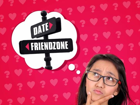 staying: Conceptual illustration of a confused woman deciding between going as a date or staying on friendzone