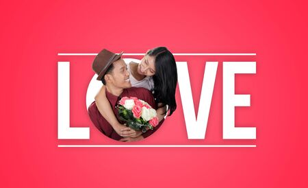 Love typography design composition with image of happy stylish couple over pink background