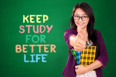 better: Nice Asian woman motivates you to keep studying for a better life