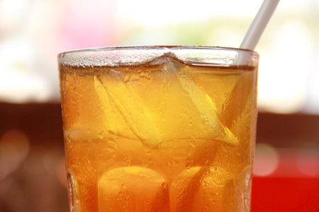 red tea: Close up of iced tea in a glass