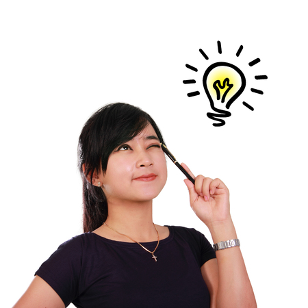 symbolized: Smart woman having an idea, symbolized with shining lighbulb doodle on top, isolated on white