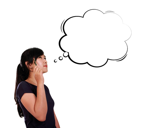person thinking: Young Asian woman looking at comic cloud drawing for copy space, isolated on white background