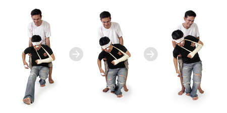 sequential: Sequential image of how a man helps lifting an injured man to stand, over white background