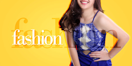Fashion banner illustration, with image of a female model over yellow background