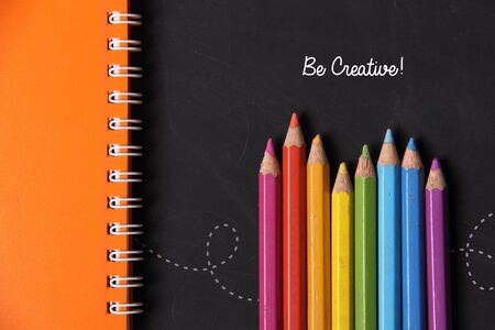 to be: Be Creative! Fun colorful background design with art  education concept