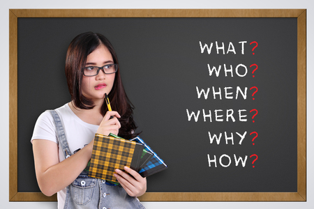 Thoughtful school girl looking at 5W1H analysis written on blackboard: what, who, when, where, why, how