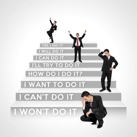willingness: Which steps are you now? - The stages of business people development Stock Photo