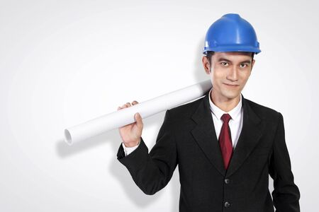 asian architect: Portrait of confident young Asian architect posing to camera, on white background Stock Photo