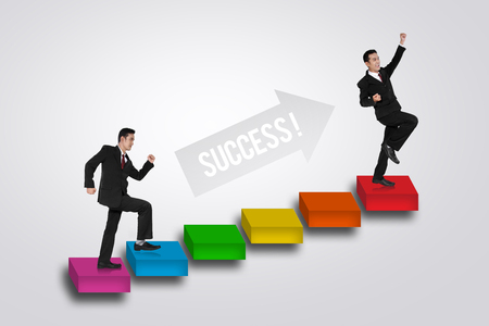going places: Illustration of a businessman going up on a stairs to success