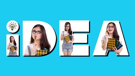 child looking up: IDEA. Conceptual composition of fun typography design and portrait of creative female student, on blue background
