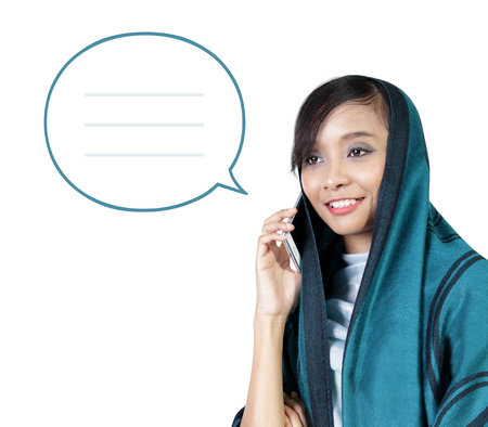 smart woman: Illustration of modern muslim woman using moblie phone, with a chat bubble icon, isolated on white background