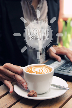 good spirits: Morning Inspiration. A cup of coffee to start up the day of working people Stock Photo