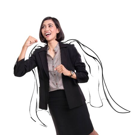 positive energy: Superwoman concept. Energetic businesswoman wearing superhero cape sketch, isolated on white background