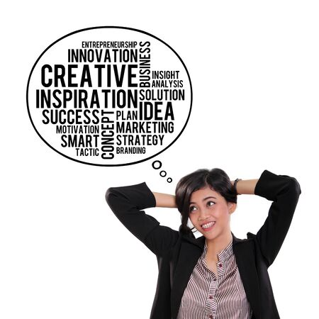 people looking up: Attractive Asian businesswoman looking at thought bubble of creative business typography doodle, over white background