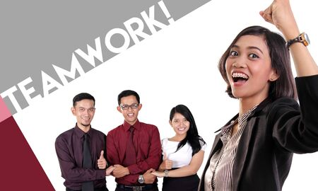 positive energy: Teamwork! Conceptual design about the importance of teamwork, with portrait of happy expressive business team making optimistic gestures