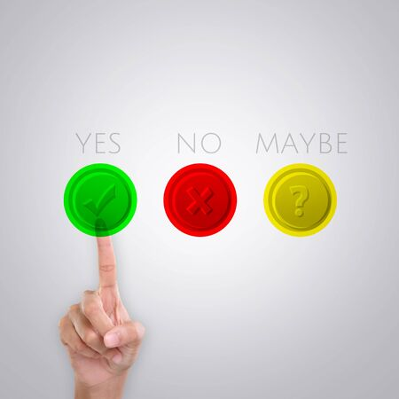 yes button: An index finger selecting YES button displayed on the screen