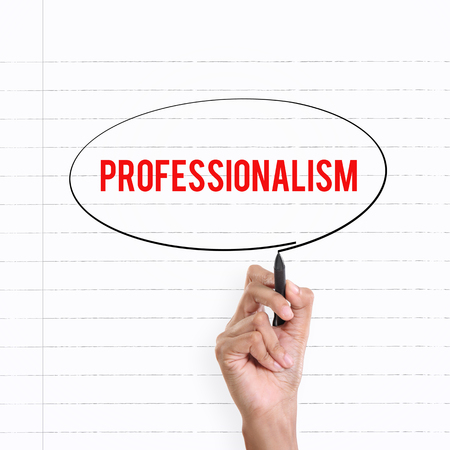 professionalism: Hand drawing circle around the note PROFESSIONALISM, lined book page on the background Stock Photo