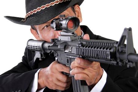 hitman: Closeup portrait of an old & experienced sniper aiming on his target, isolated on white background