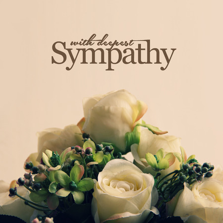 With Deepest Sympathy, white roses arrangement for sympathetic card or letter design