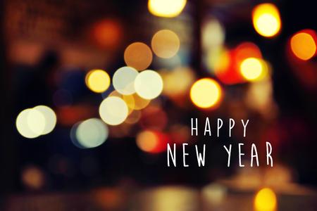 Happy New Year, classic greeting card design with romantic lights illumination Stock Photo
