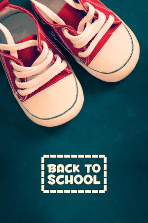 semester: Back to School vintage art work design illustrated with portrait of kids shoes