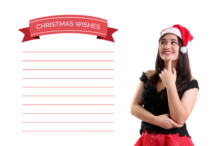 wants: Beautiful Asian girl looking at the list of Christmas wishes, thinking about what she wants and her gestures expressing interest. Conceptual illustration and portrait isolated over white background Stock Photo