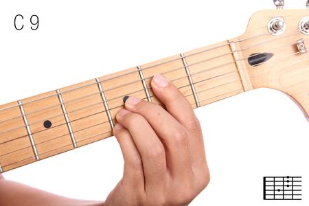 C9 - Advanced Guitar Keys Series. Closeup Of Hand Playing C Dominant ...
