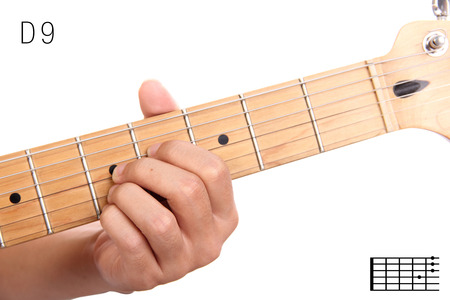 D9 - Advanced Guitar Keys Series. Closeup Of Hand Playing D Dominant ...