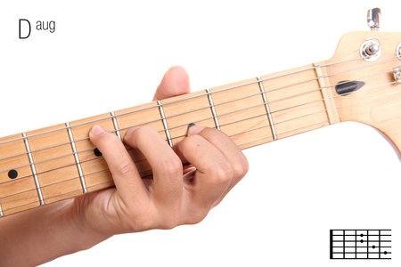 fingerboard: Daug - advanced guitar keys series. Closeup of hand playing D augmented chord, isolated on white background Stock Photo