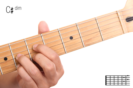 C#dim - advanced guitar keys series. Closeup of hand playing C sharp diminished chord, isolated on white background