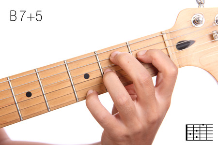 B7+5 - advanced guitar keys series. Closeup of hand playing B 7+5 chord, isolated on white background