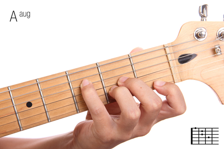 Aaug - advanced guitar keys series. Closeup of hand playing A augmented chord, isolated on white background Stock Photo