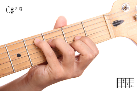 C#aug - advanced guitar keys series. Closeup of hand playing C sharp augmented chord, isolated on white background Stock Photo
