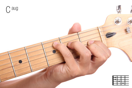 theories: Caug - advanced guitar keys series. Closeup of hand playing C augmented chord, isolated on white background
