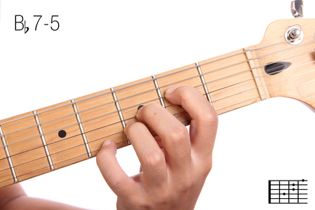 Bb7-5 - advanced guitar keys series. Closeup of hand playing B flat 7-5 chord, isolated on white background