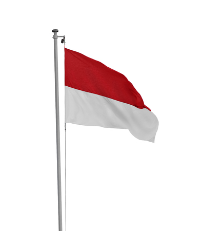 Red and white, national flag of Indonesia, isolated over white background