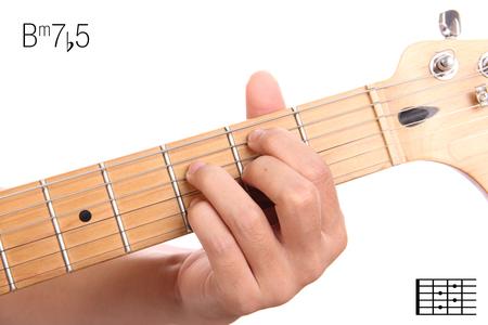 Bm7b5 - Advanced Guitar Keys Turorial Series. Closeup Of Hand ...