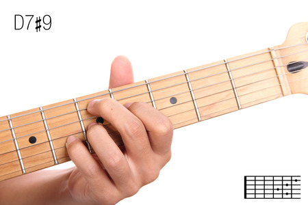 D7#9 - advanced guitar keys tutorial series. Closeup of hand playing D 7 sharp 9 chord, isolated on white background